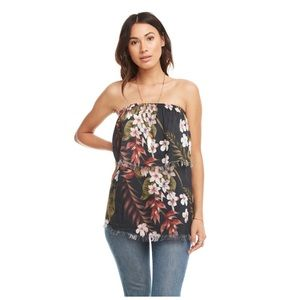 Chaser Heirloom Gauze Strapless Frayed Tier Top